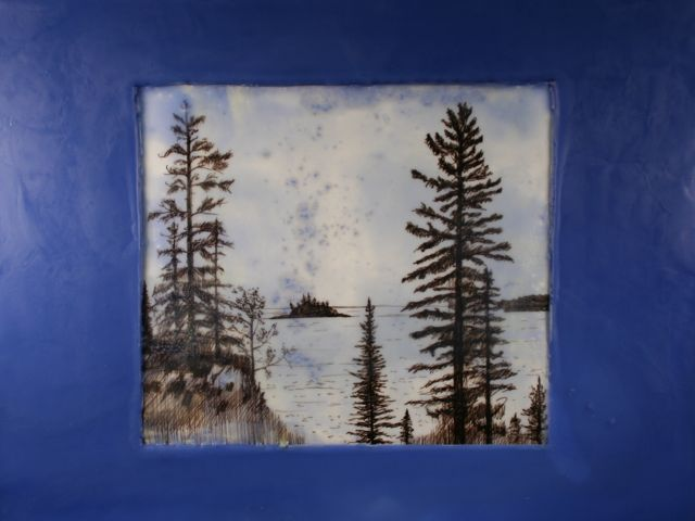 "ink, paper, encaustic on panel, 12"" x 16"", 2012"